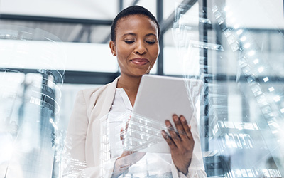 Business Woman on a Tablet